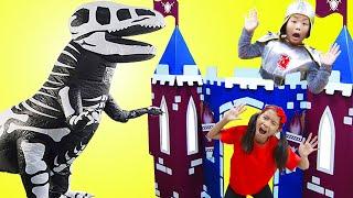Wendy and Alex Pretend Play with a Skeleton Dinosaur