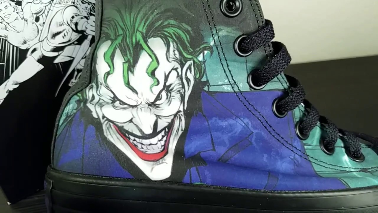 ae190070c1c Converse All Star Hi DC Comics Joker Sneakers - YouTube