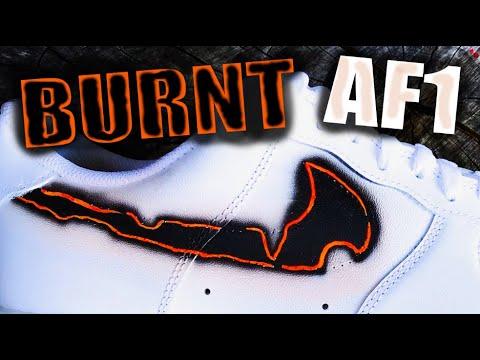 sports shoes 94644 474ba Air Force 1 burned