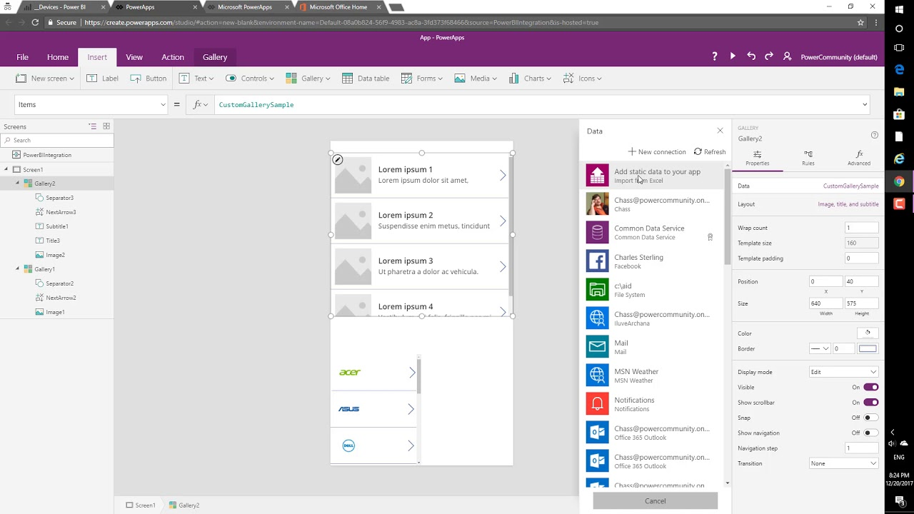 PowerApps custom visual for Power BI