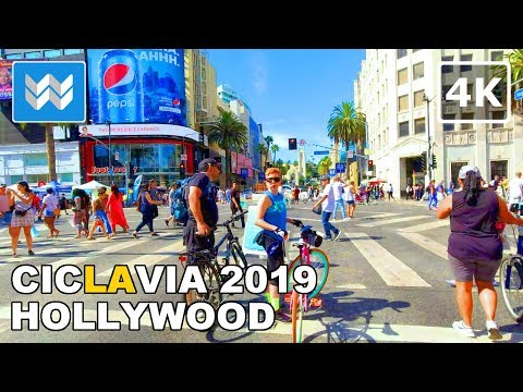 CicLAvia 2019 – Meet The Hollywoods - Bike Tour In Los Angeles, California USA  🎧 【4K】