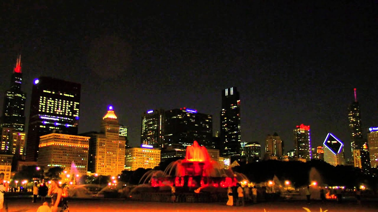 chicago s buckingham fountain light show at night in real time