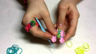 Браслет цепочка из резинок Rainbow Loom урок-1