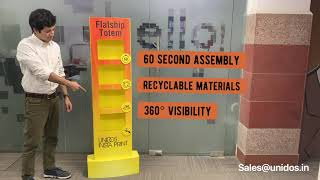POSM Display Totem -  Ships flat, Instant Assembly, 360° Visibility, Economical Pricing