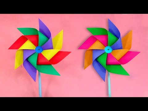 How To Make a Four Color Paper Windmill for Kids - Easy [Pinwheel] Tutorial