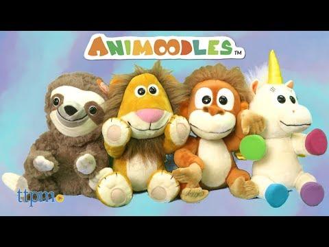 Animoodles Miguel Frog, Hazel Sloth, Brady Lion, Randy Orangutan, Iris Unicorn from Portola Plush