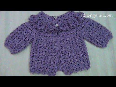 Crochet 3D Baby Cardigan Sweater Tutorial I Hướng Dẫn Móc áo Len 3D  Kiểu Ghép Hoa Cho Bé Gái (1/2)