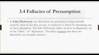 3.4 Fallacies of Presumption