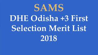 DHEOdisha.gov.in +3 First Selection Merit List 2018