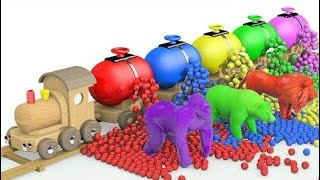 Learn Colors with Transport Animals w Wooden Train & Soccer Balls for Kids