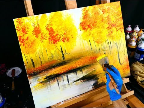 Fall season landscape painting – yellow, red, orange autumn leaves, trees and reflective lake