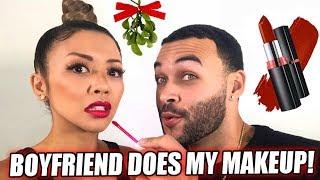BOYFRIEND DOES MY HOLIDAY MAKEUP CHALLENGE ft. Don Benjamin | Liane V