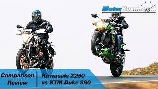 Kawasaki Z250 vs KTM Duke 390 - Comparison Review | MotorBeam