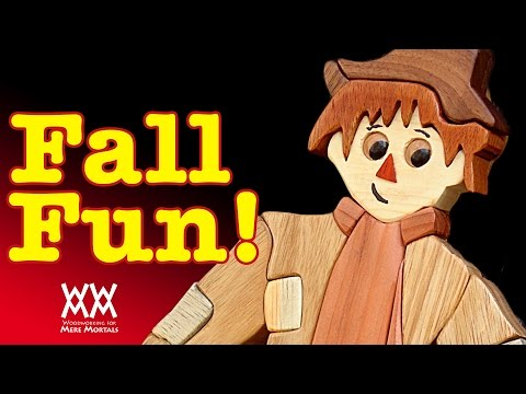 Make a wooden scarecrow. Woodworking intarsia. Fun fall decoration!