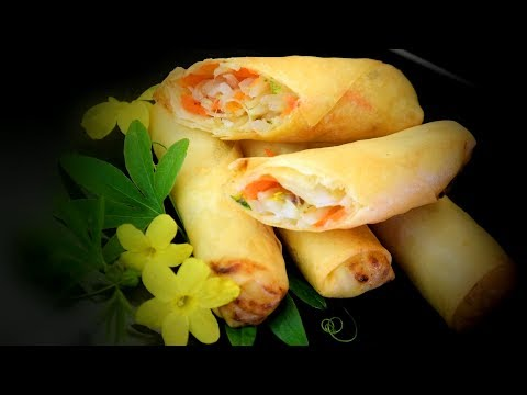 Chinese Vegetable Spring Rolls (Chinese Style Cooking Recipe)