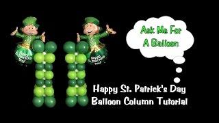 St Patrick's Day Balloon Column Decoration