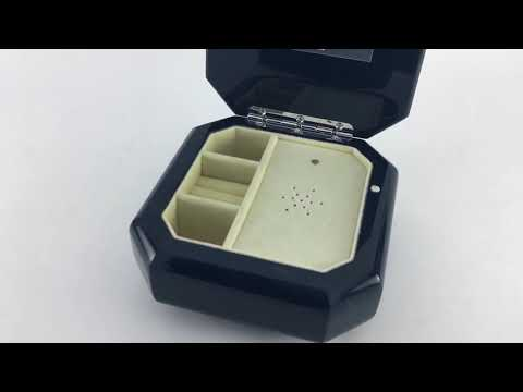 Midnight Black  Beveled Musical Jewelry Box with Custom Song & Engraving