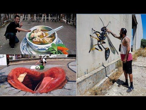 Tranh 3D Đường Phố Ấn Tượng – 3D Painting – Best of 3D Street Art Illusion