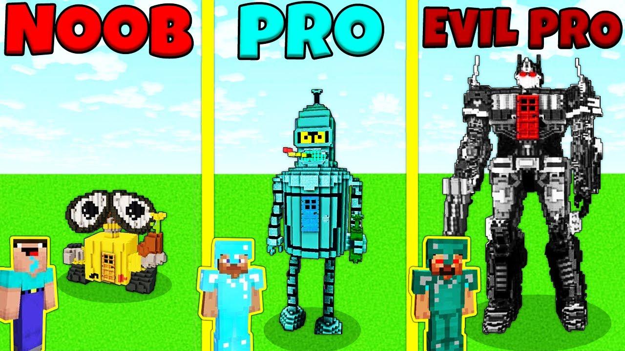 Minecraft Battle: NOOB vs PRO vs EVIL PRO: ROBOT HOUSE BUILD CHALLENGE / Animation