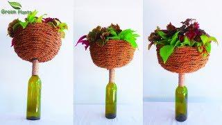 Unique Planter Idea | Basket Planter On The Glass Bottle | Tabletop Planter Idea//GREEN PLANTS