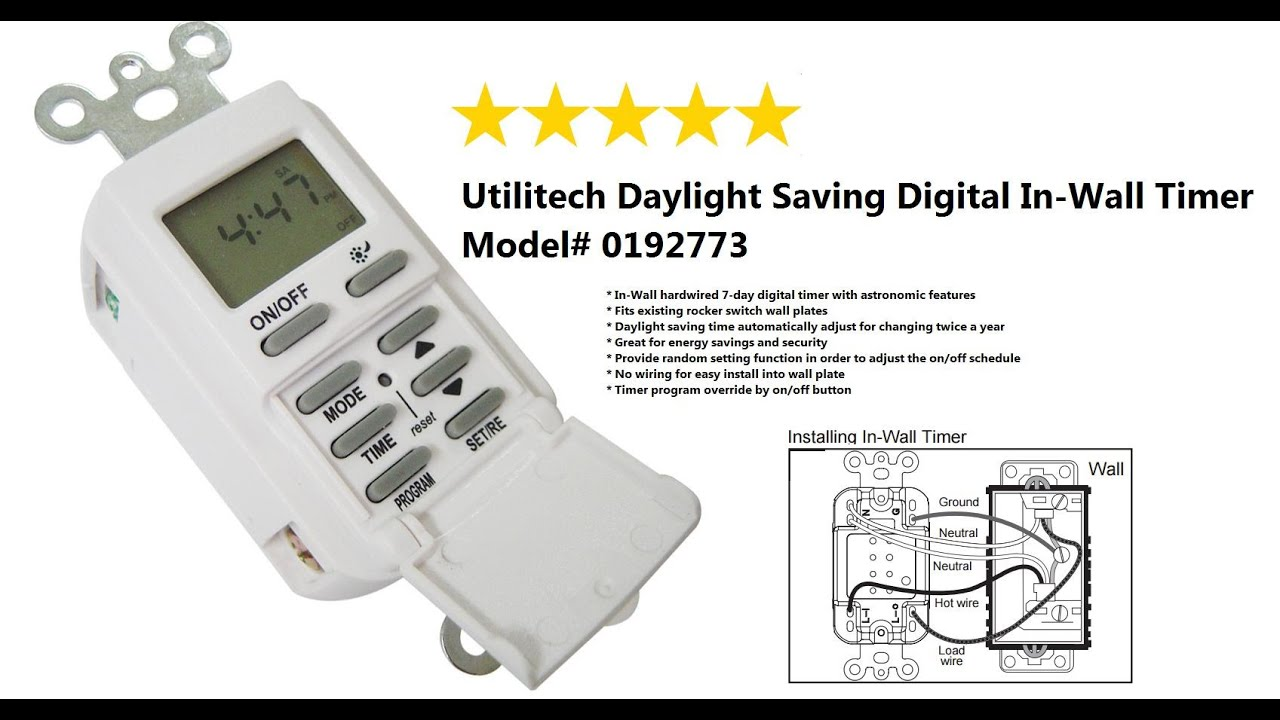 Utilitech Daylight Saving Digital In Wall Timer Model