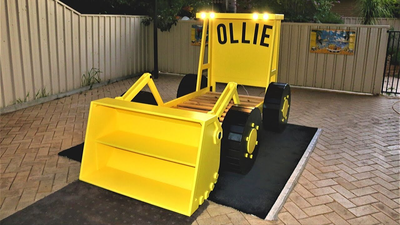 Making A Loader Tractor Bed With Headlights And A Bookcase For Ollie, Kids Bedroom  Ideas.