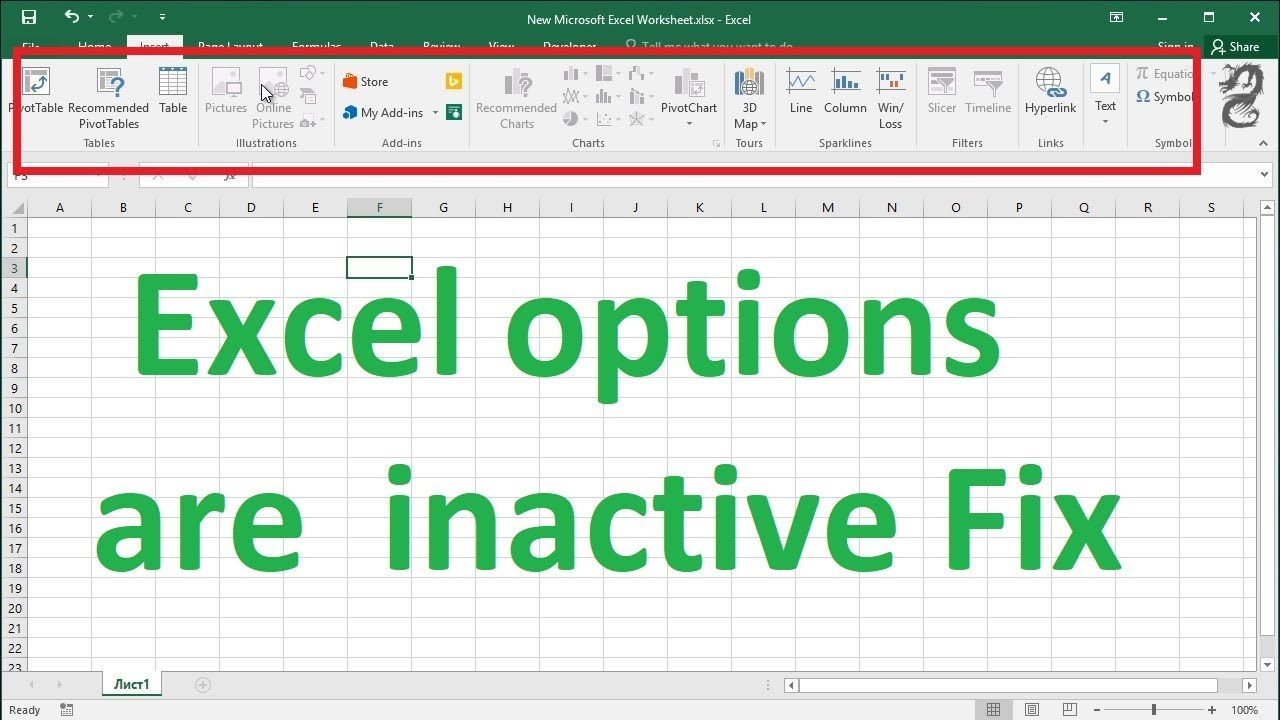 Some Excel options are Grayed out inactive Fix