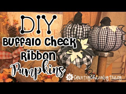DIY Buffalo Check Ribbon Pumpkins | Dollar Tree Pumpkins | Farmhouse Style Fall Decor