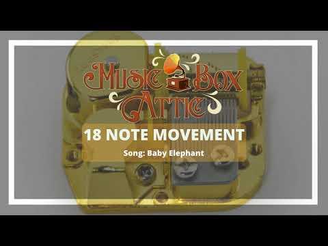 Ba Elephant  Music Box Attic 18 Note Mechanical Movement