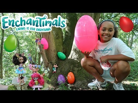 GIANT SURPRISE EGG HUNT IN A FOREST! Enchantimals Dolls Toy Challenge | Toys AndMe