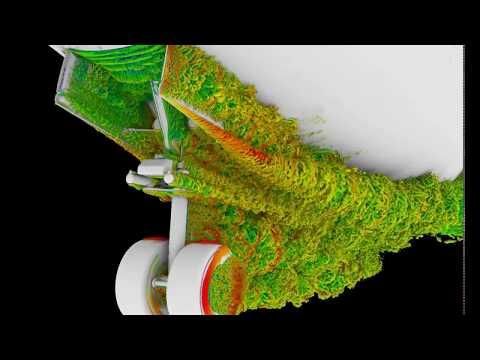 Aircraft landing gear air flow supercomputer simulation - NASA Ames Research Center