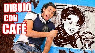 DIBUJO A MI HIJO JUSTIN CON POLVO DE CAFÉ EN GRANDE !! Reto de Dibujo | HaroldArtist