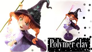 Magical little witch- Polymer clay tutorial- UV resin magical wand- DIY