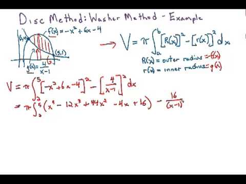 Volumes of solids of revolution washer method, example 1 youtube.