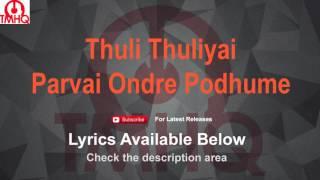 Thuli Thuliyai Karaoke Parvai Ondre Podhume Lyrics