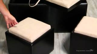 Garrett Double Storage Ottoman With Tray & Side Ottomans - Product Review Video