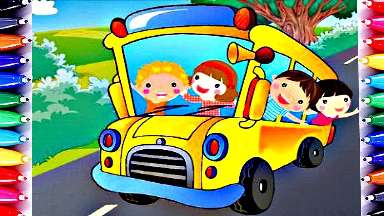The Wheels On The Bus Coloring Book School Bus Color For