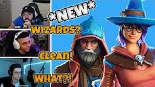 STREAMERS REACT TO *NEW* EPIC WIZARD SKINS (CASTOR & ELMIRA) Fortnite Funny