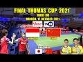 JADWAL FINAL THOMAS CUP 2021 HARI INI ~ INDONESIA VS CHINA LIVE TVRI