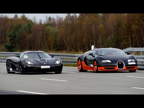 [4k] 50-350+ km/h RACE Bugatti Veyron Vitesse vs Koenigsegg Agera R Highspeed Oval