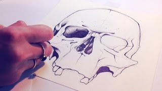 How to draw a realistic human skull [Fast-Motion & HD]