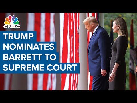 President Donald Trump nominates Amy Coney Barrett to Supreme Court as stimulus talks continue