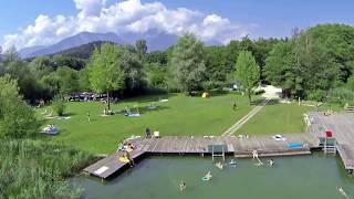 Kärnten - Camping am Turnersee / Luftaufnahmen Seecamping Breznik, Österreich