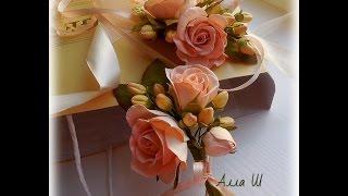 МК Бутоньерка для жениха и невесты. Как утолщать стебель розы  . Часть 4