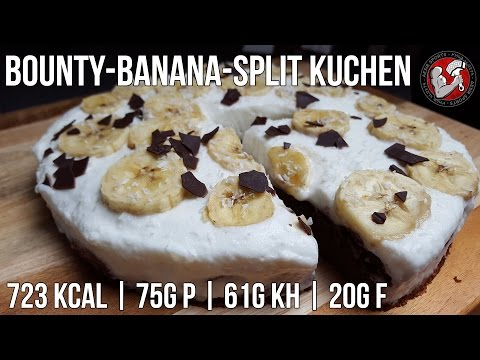 Bounty-Banana-Split Kuchen | High Protein Fitness Kuchen Rezept |