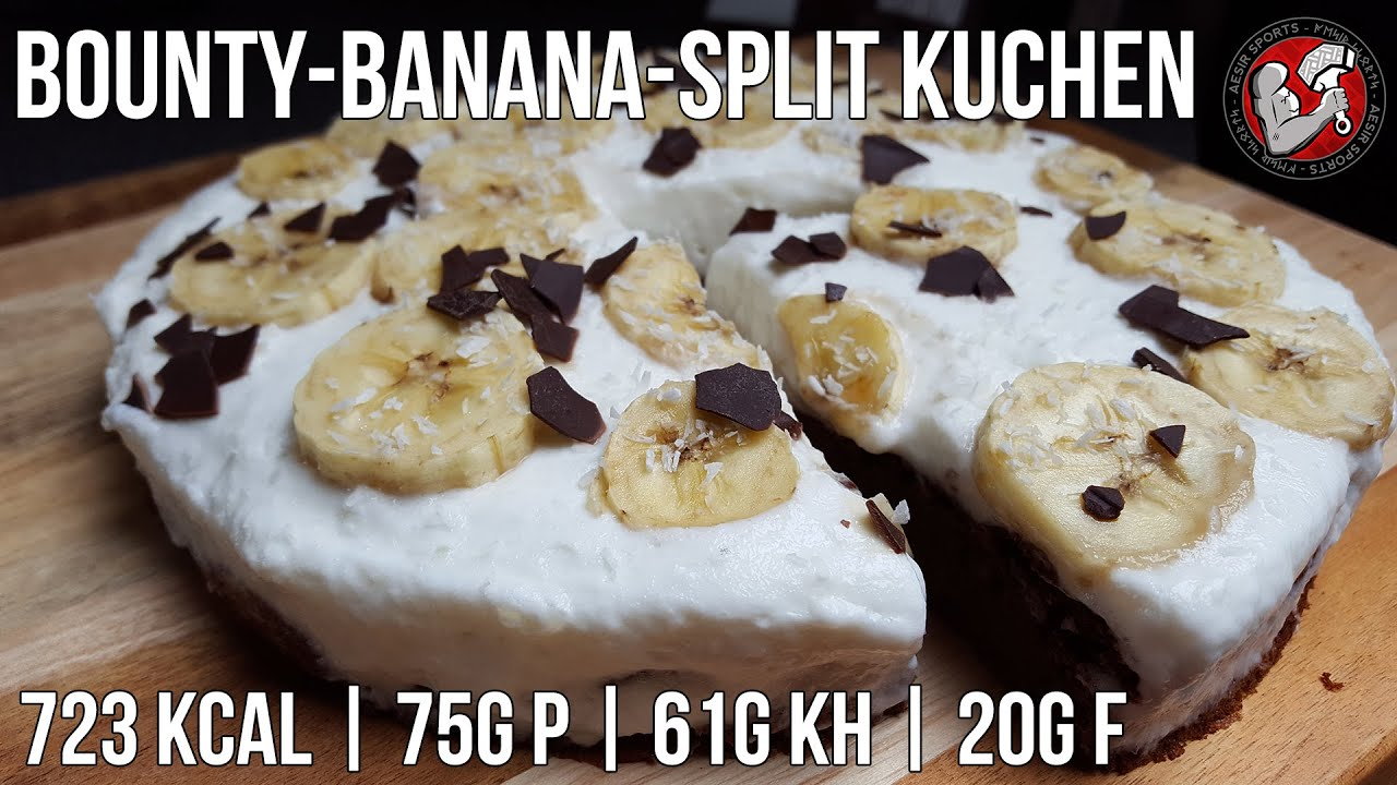 bounty banana split kuchen high protein fitness kuchen rezept youtube. Black Bedroom Furniture Sets. Home Design Ideas