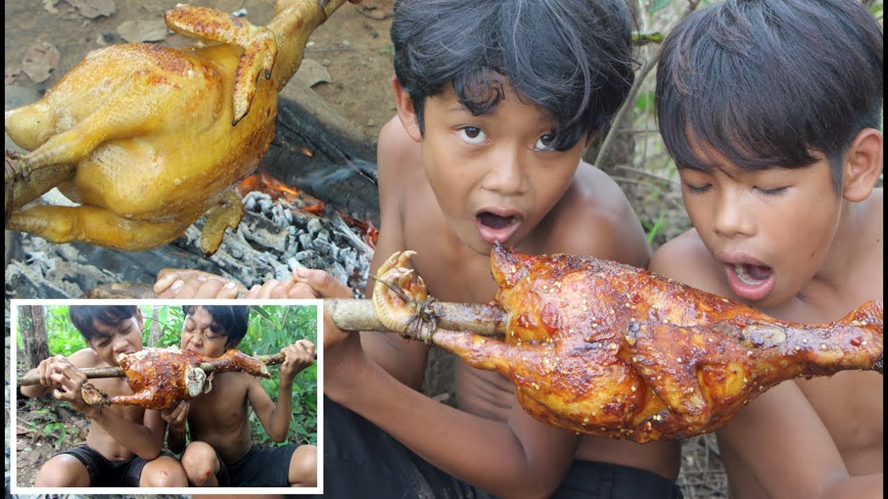 Primitive Technology - Awesome Cooking chicken for dinner - eating delicious