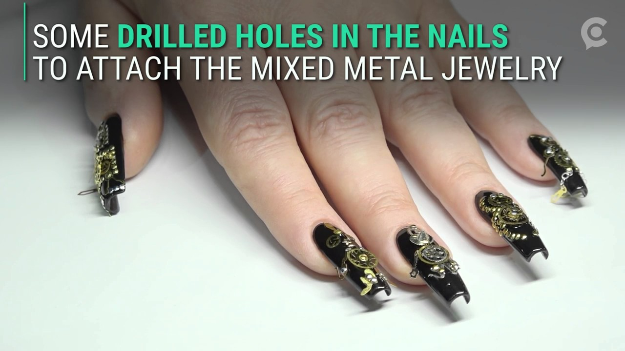 These Nails Are Bedazzled In All Kinds Of Metal Jewelry Youtube