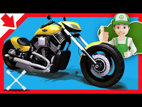 Motorcycle for children. Car wash kids. Car repair service. Motorcycle wash Cartoon. Car body shop.