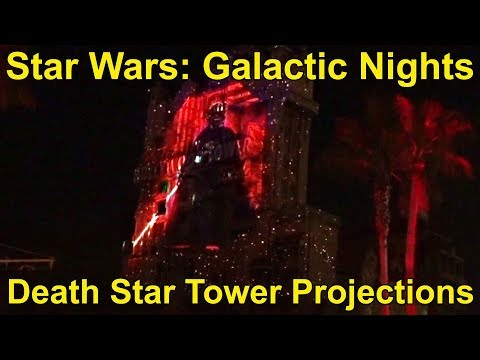 Death Star w/Darth Vader Projections on Tower of Terror - Star Wars Galactic Nights, Disney